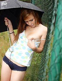 Teen in the rain