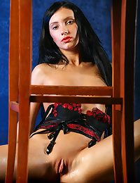 Milene sizzles as she erotically strips the brush new black and red corset and matching G-string panties, showing off the brush luscious pair be beneficial to perky tits, and round ass.